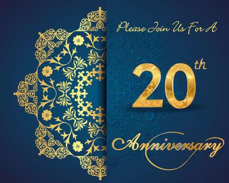 20 year anniversary celebration pattern design, 20th anniversary decorative Floral elements, ornate background, invitation card - vector eps10