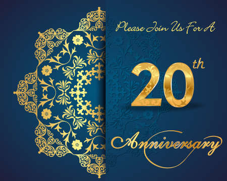 20 year anniversary celebration pattern design, 20th anniversary decorative Floral elements, ornate background, invitation card - vector eps10