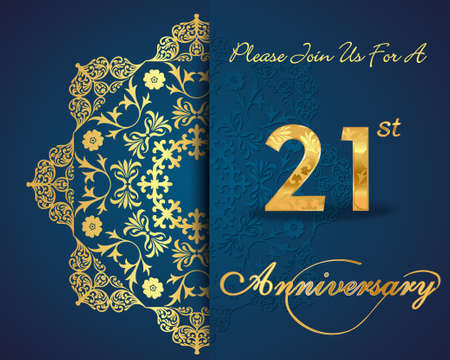 aniversario de bodas: 21 años de diseño aniversario patrón, 21 aniversario Elementos florales decorativos, fondo adornado, tarjeta de invitación - vector eps10