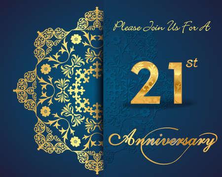 anniversario matrimonio: Disegno 21 anni anniversario modello, 21 anniversario elementi decorativi floreali, sfondo ornato, carta di invito - vettore eps10