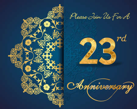23: 23 year anniversary celebration pattern design, 23 anniversary decorative Floral elements, ornate background, invitation Illustration