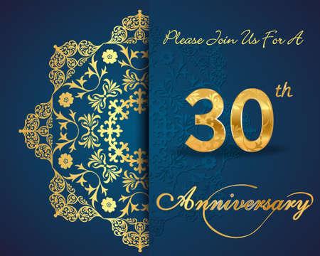 30 jaar patroon verjaardag viering ontwerp, 30ste verjaardag decoratieve bloemen elementen, overladen achtergrond, uitnodiging