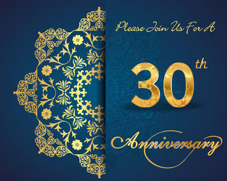 anniversario matrimonio: Design 30 anni del modello anniversario, 30 ° Anniversario elementi decorativi floreali, sfondo ornato, invito Vettoriali