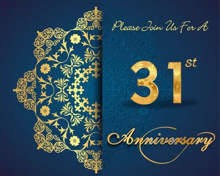 31: 31 year anniversary celebration pattern design, 31 anniversary decorative Floral elements, ornate background, invitation Illustration