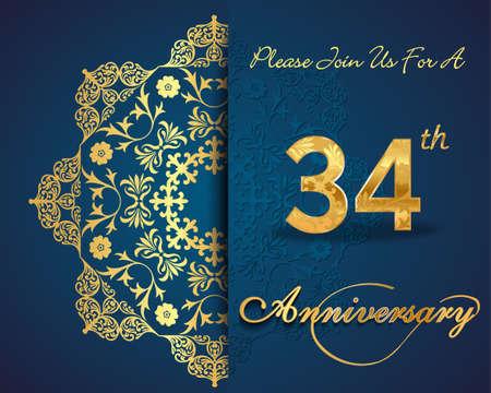 34: 34 year anniversary celebration pattern design, 34th anniversary decorative Floral elements, ornate background, invitation Illustration