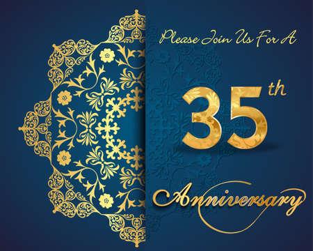 35th: 35 year anniversary celebration pattern design, 35th anniversary decorative Floral elements, ornate background, invitation Illustration