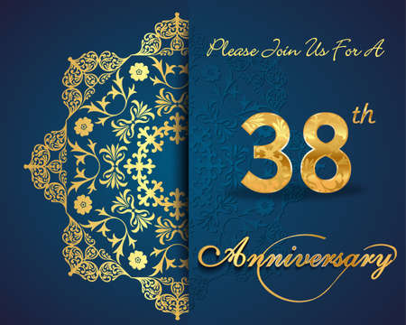 38 year anniversary celebration pattern design, 38th anniversary decorative Floral elements, ornate background, invitation