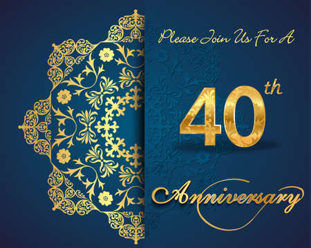 40 jaar patroon verjaardag viering ontwerp, 40ste verjaardag decoratieve bloemen elementen, overladen achtergrond, uitnodiging