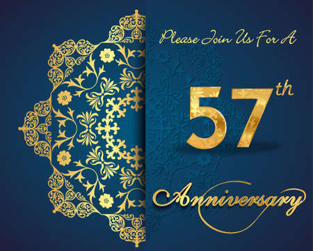 57: 57 year anniversary celebration pattern design,decorative Floral elements, ornate background, invitation card