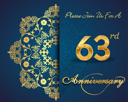 anniversary backgrounds: 63th year anniversary celebration pattern design, decorative Floral elements, ornate background, invitation card Illustration
