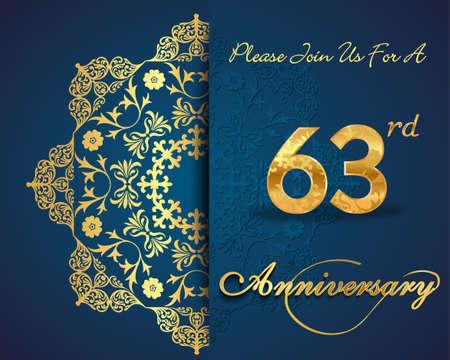 anniversario matrimonio: Design 63 ° anno di celebrazione del modello anniversario, elementi decorativi floreali, sfondo ornato, carta di invito