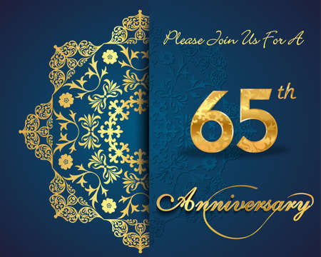 65th: 65th year anniversary celebration pattern design, decorative Floral elements, ornate background, invitation card