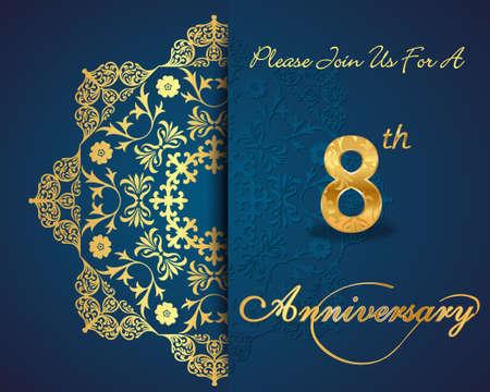 8 years birthday: 8th year anniversary celebration pattern design, decorative Floral elements, ornate background, invitation card