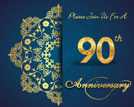 90th year anniversary celebration pattern design, decorative Floral elements, ornate background, invitation card Vector
