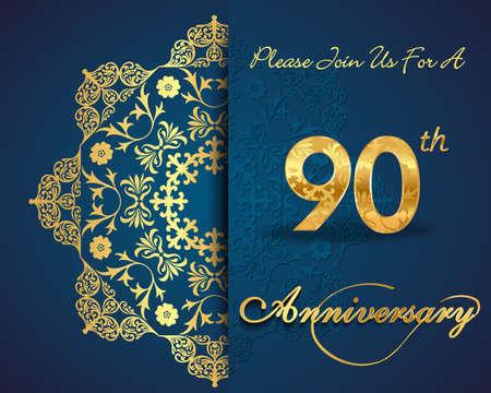90th: 90th year anniversary celebration pattern design, decorative Floral elements, ornate background, invitation card