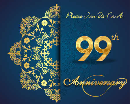 99: 99 year anniversary celebration pattern design, 99th anniversary decorative Floral elements