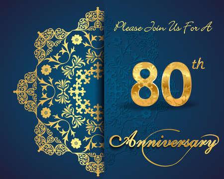 80th: 80 year anniversary celebration pattern design, 80th anniversary decorative Floral elements Illustration