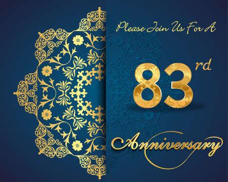 83rd: 83 year anniversary celebration pattern design, 83rd anniversary decorative Floral elements