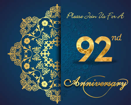 92: 92 year anniversary celebration pattern design, 92nd anniversary decorative Floral elements