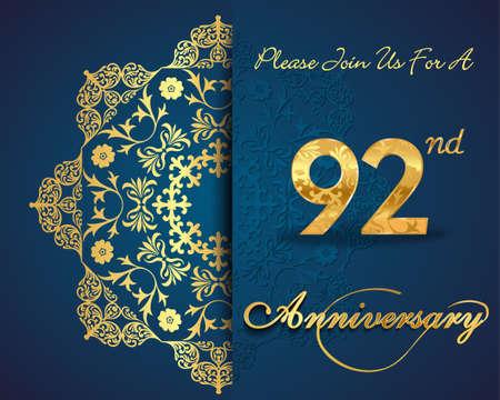 92: 92 year anniversary celebration pattern design, 92nd anniversary decorative Floral elements