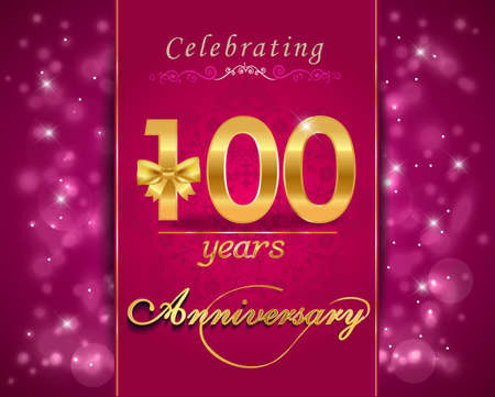 anniversary backgrounds: 100 year anniversary celebration sparkling card, 100th anniversary vibrant background Stock Photo