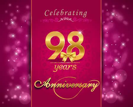 vibrant background: 98 year anniversary celebration sparkling card, 98th anniversary vibrant background Stock Photo