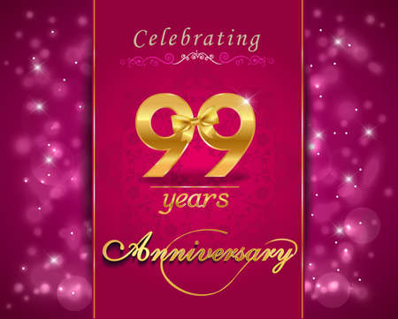 99: 99 year anniversary celebration sparkling card, 99th anniversary vibrant background Stock Photo