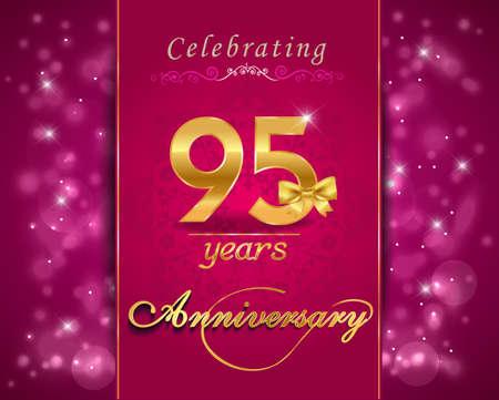 95: 95 year anniversary celebration sparkling card, 95th anniversary vibrant background Stock Photo