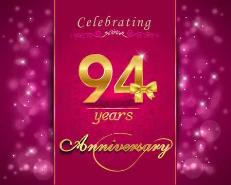 anniversaire: 94 ann�es c�l�bration de l'anniversaire carte de mousseux, 94e anniversaire fond dynamique Banque d'images