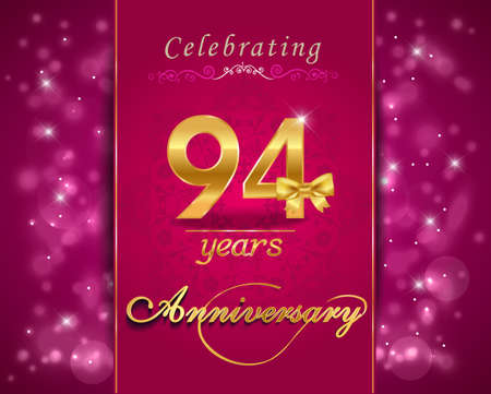 anniversary celebration: 94year anniversary celebration sparkling card, 94th anniversary vibrant background