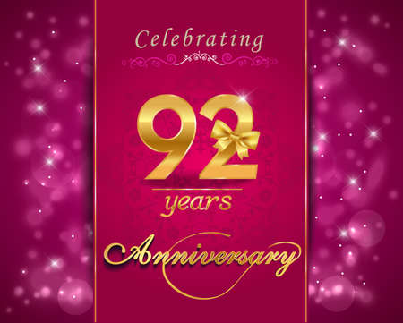 92: 92 year anniversary celebration sparkling card, 92nd anniversary vibrant background