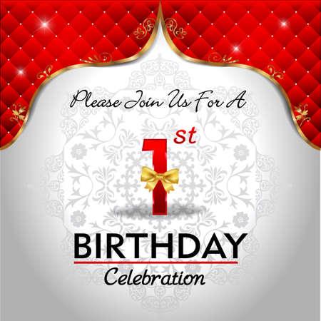 黄金の赤ロイヤル背景 1 年誕生日を祝う 写真素材 - 36710167