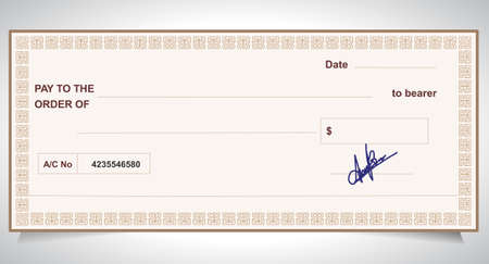 BANK CHECK, bank cheque - Vector eps10