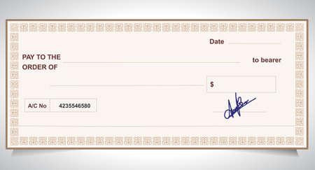 Bank cheque, bankcheque - Vector eps10 Stock Illustratie