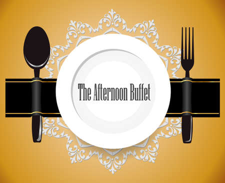 the afternoon buffet, lunch, all you can eat buffet sign - vector eps10