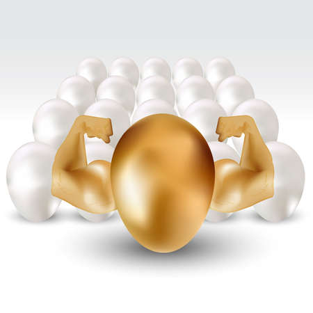 golden egg with hand power, stand out from crowd concept - vector eps10