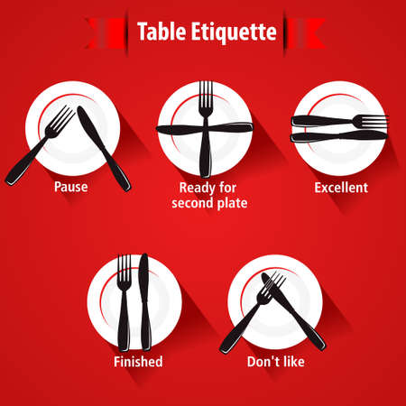 the etiquette: dining etiquette and table manner, forks and knifes signals- eps 10 vector
