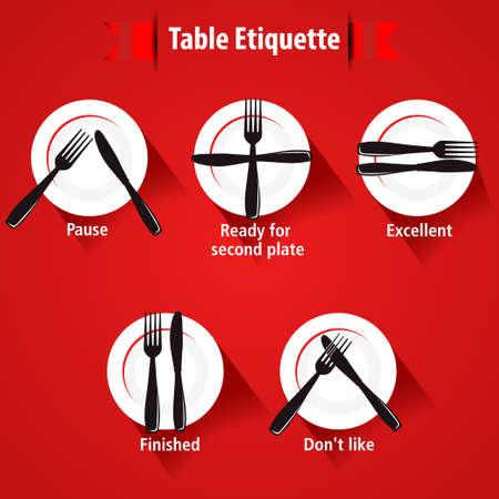 Etiqueta en la mesa y la forma de mesa, tenedores y cuchillos signals- eps 10 vector Foto de archivo - 36710187
