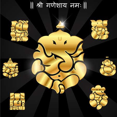 prosperidad: Dios Ganesha indio, Ganesh de �dolos vector eps10 Vectores