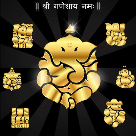 Indian god ganesha, Ganesh idol- vector eps10 Illustration
