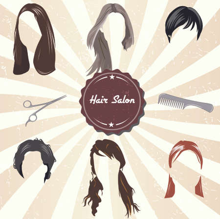 black wigs: Hair Salon Labels and Icons with Hair style - vector EPS10