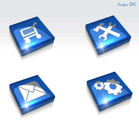 screw key: 3d vector glossy setting and repair web icon set - vector eps10 Illustration