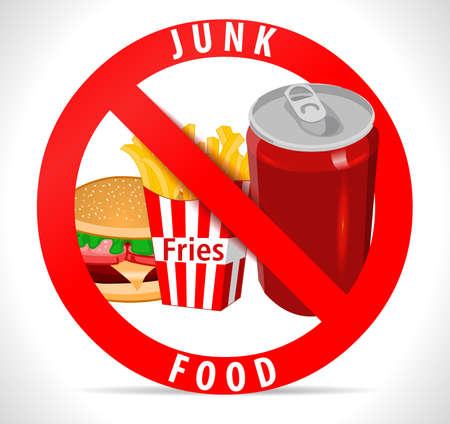junk: avoid junk food poster with fries burger cold drink icons - vector eps10