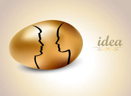priceless: egg with silhouettes Idea, Idea exchange concept - vector eps10 Illustration