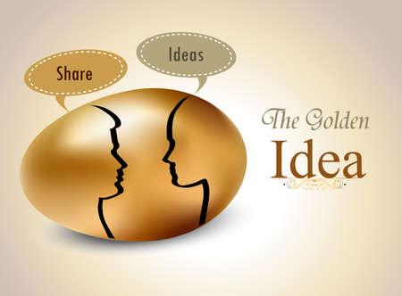 priceless: egg with silhouettes speech bubble, Idea exchange concept - vector eps10