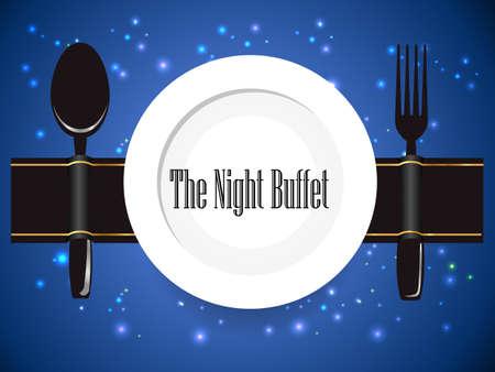 dinner food: el buffet de noche, la cena, la comida forma, todo lo que pueda comer buffet de signo - vector eps10