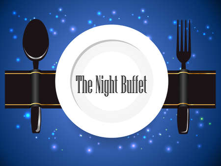 the night buffet, dinner, food manner, all you can eat buffet sign - vector eps10
