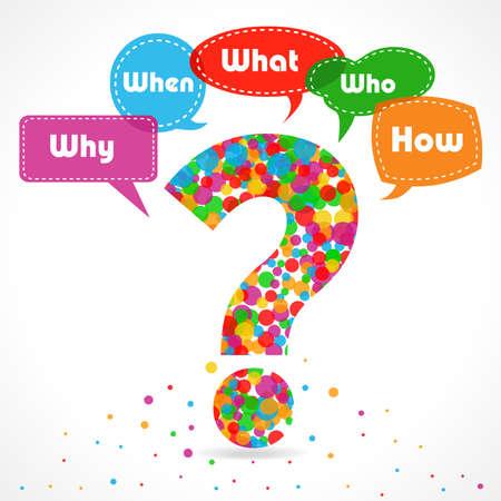 質問図何のときにどこでなぜ人どのようにルートの原因分析 - ベクター eps10
