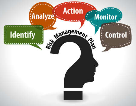 information management: thinking head question concept showing risk management - vector eps10