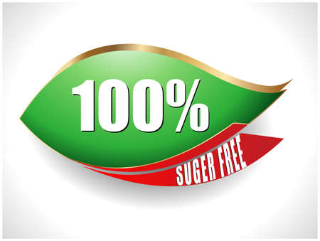 harmless: 100 percent sugar free text with leaf symbol vector - eps10
